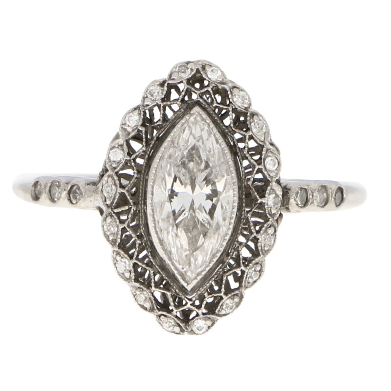 Art Deco Inspired Marquise Cut Diamond Cluster Ring