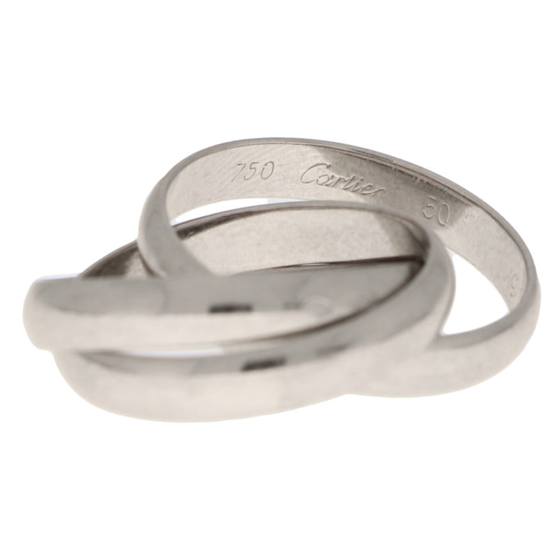 Vintage Cartier Trinity Ring in White Gold Size 50