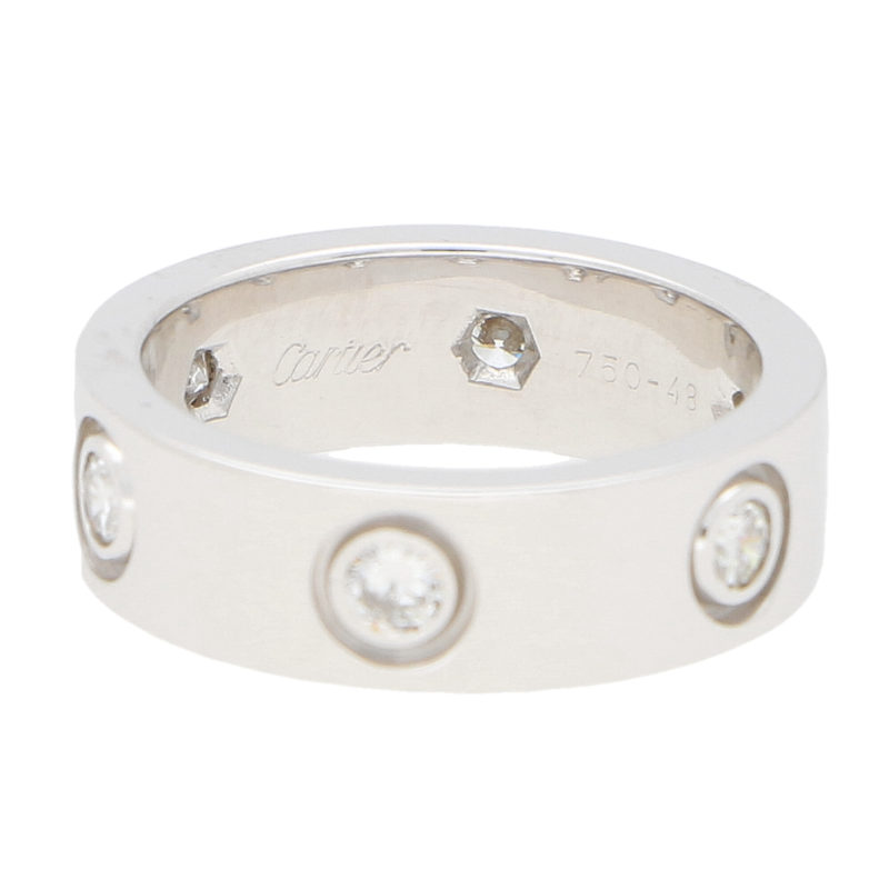 Vintage Cartier Six Diamond Love Ring in White Gold Size 48