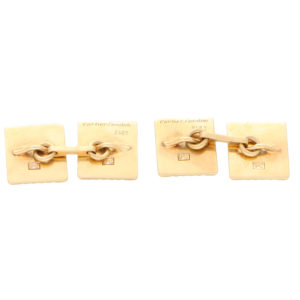Art Deco Cartier London Square Cufflinks in 9 Karat