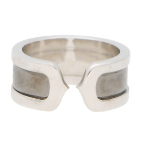 Cartier Double C Band Ring in White Gold and Rhodium