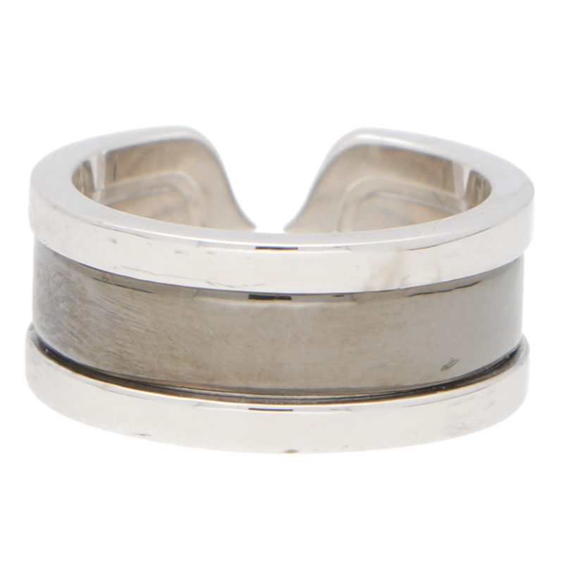 Vintage Cartier Double C Band Ring in White Gold and Rhodium