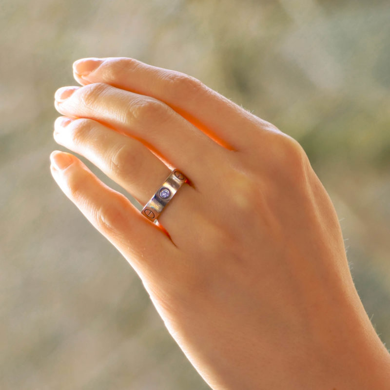 Cartier Three Diamond Love Ring in White Gold Size 48