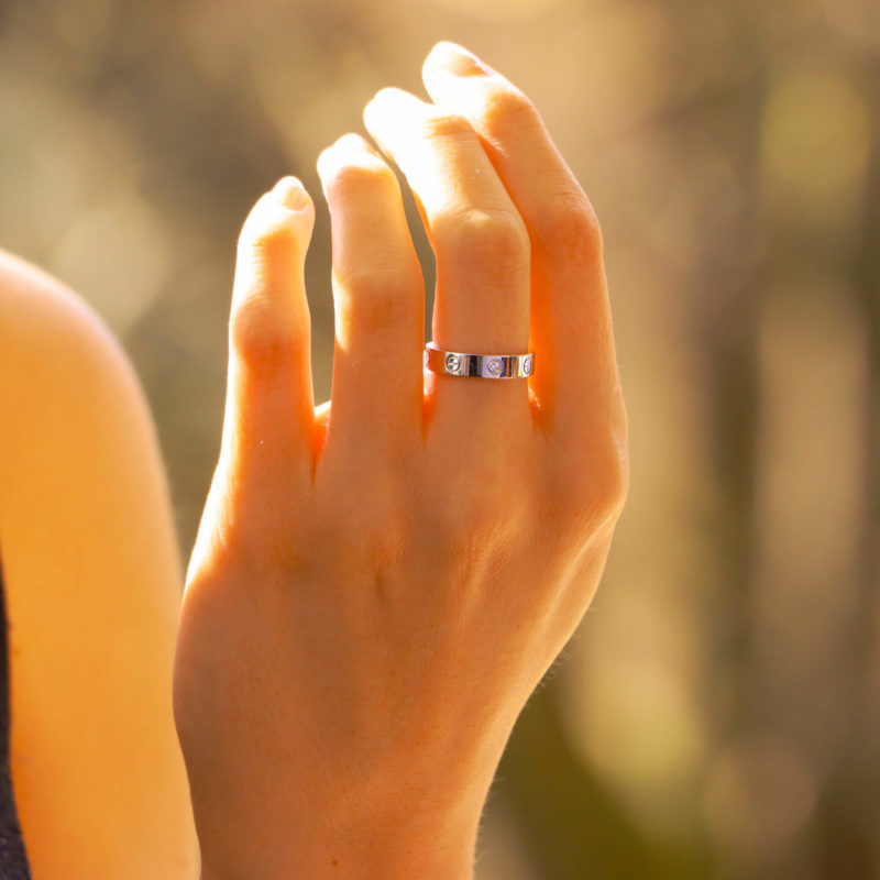 Vintage Cartier Mini Diamond Love Ring in White Gold Size 51