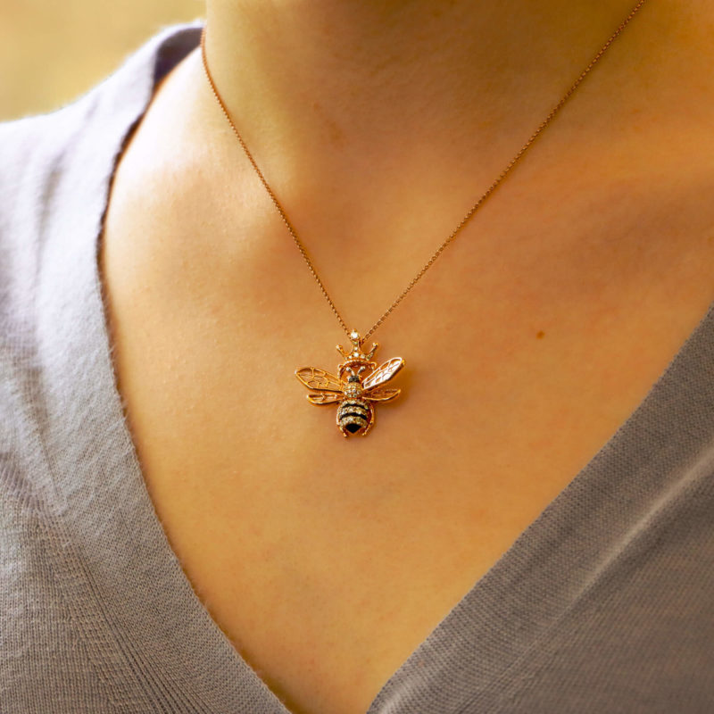 Diamond, Ruby and Mother of Pearl Queen Bee Necklace