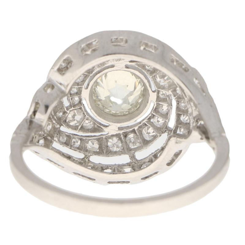 Art Deco Diamond Swirl Ring in Platinum