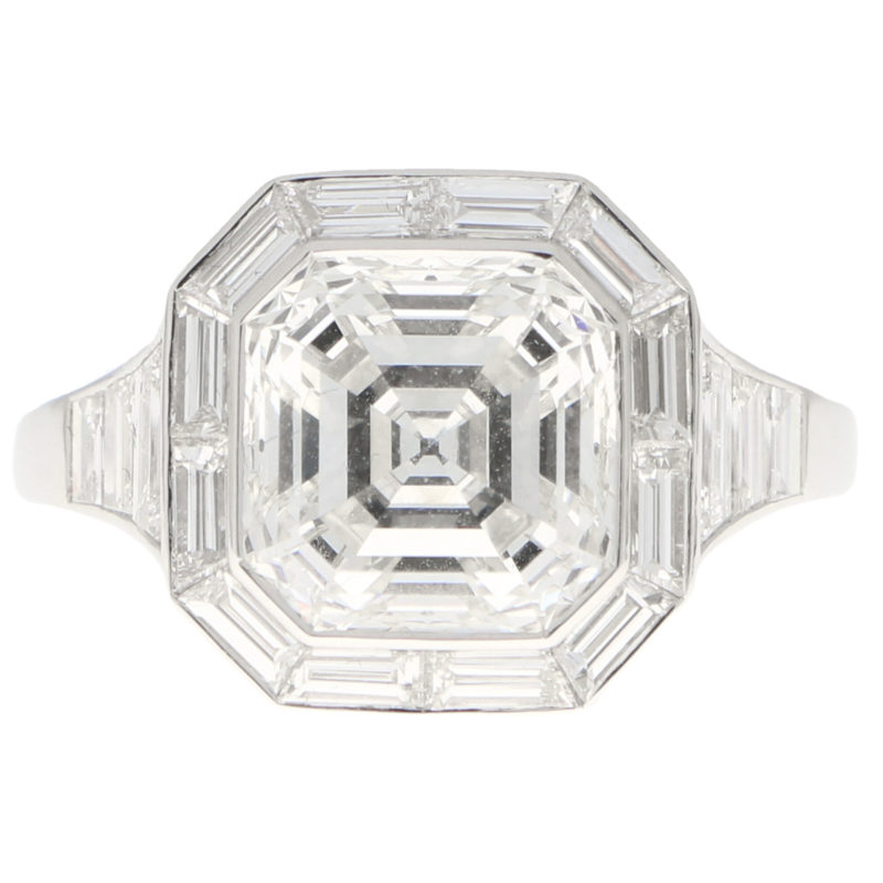GIA Certified Art Deco Style Asscher Engagement Ring