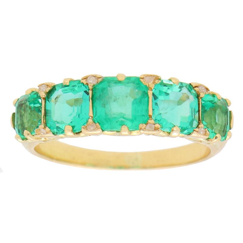 Late Victorian Emerald and Diamond Five Stone Ring