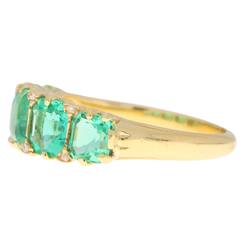 Late Victorian Emerald and Diamond Five Stone Ring