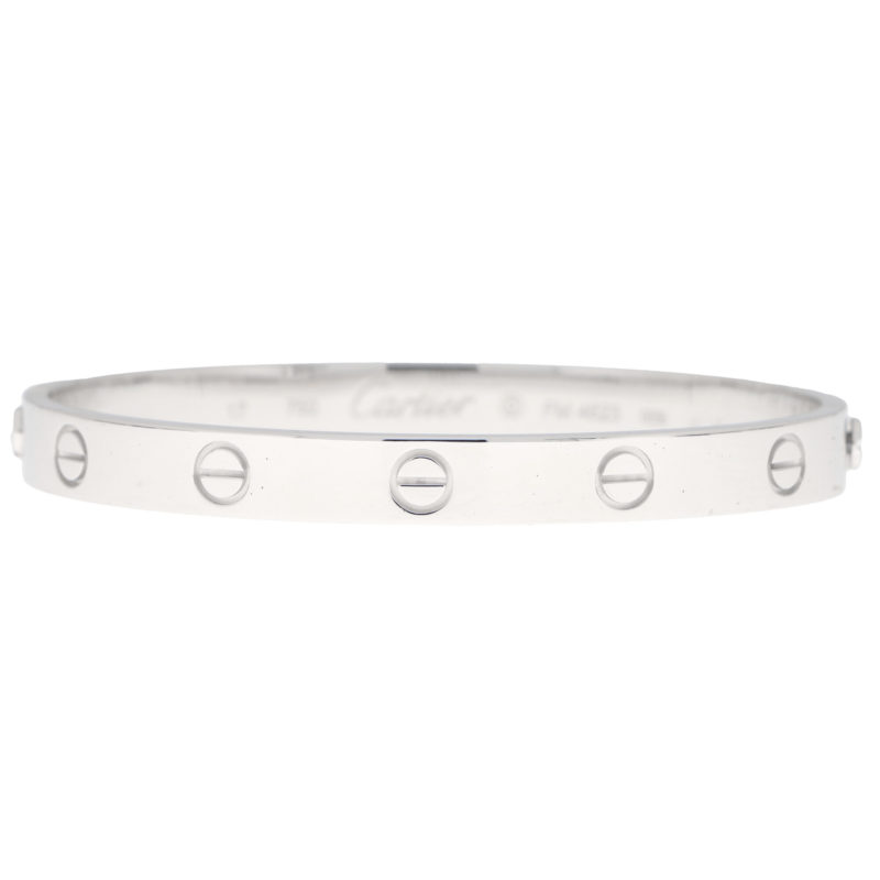 Vintage Cartier Love Bangle in White Gold Size 17