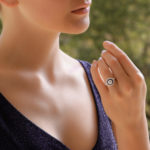 GIA Certified Sapphire and Diamond Double Target Ring