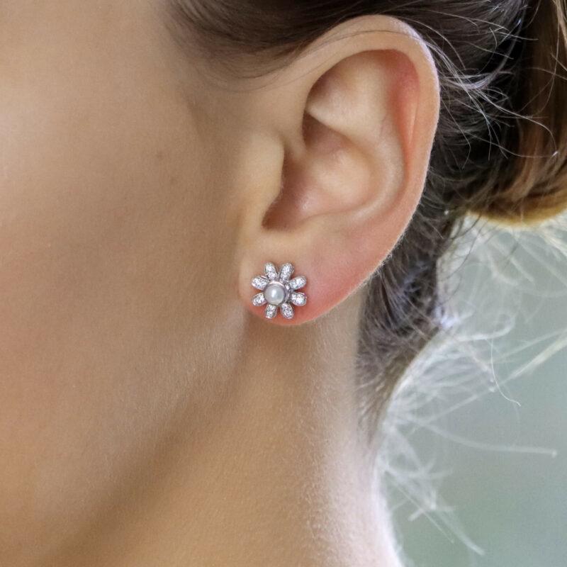 Interchangeable Ruby, Sapphire, Diamond and Pearl Stud Earrings