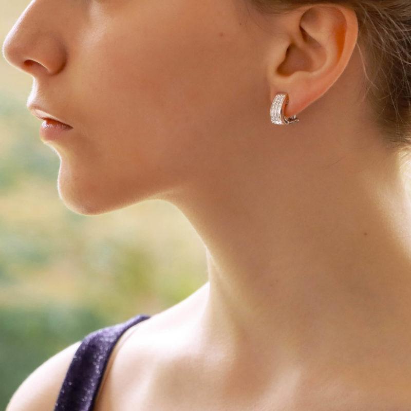 Princess Cut Diamond Half Hoop Earrings
