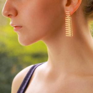 Vintage French Fan Earrings in Rose Gold