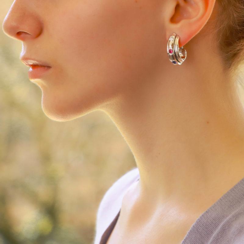 Vintage Piaget Possession Multi Gem Hoop Earrings