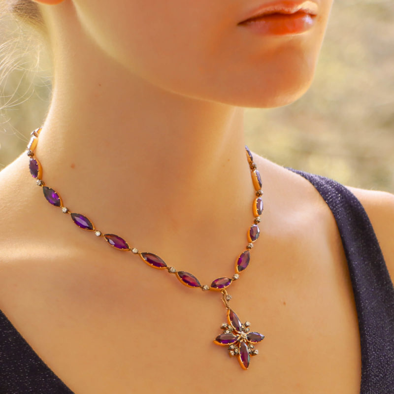 Late Victorian Amethyst and Diamond Convertible Necklace