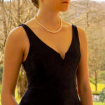 White Pearl Strand Necklace With Brushed Gold Clasp