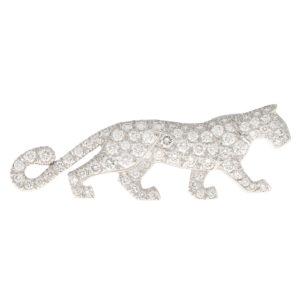 Rare Vintage Cartier Diamond Panther Pin Brooch
