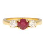 Ruby and Diamond Three Stone Ring