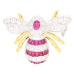 Ruby and Diamond Bee Brooch