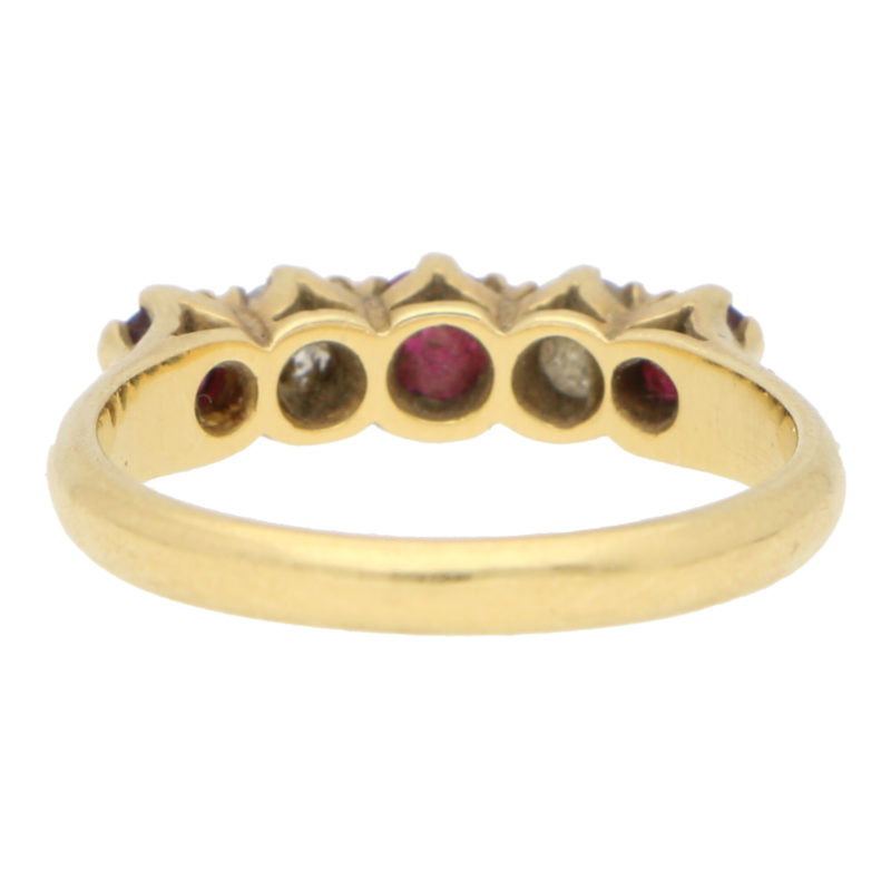 Vintage Ruby and Diamond Five Stone Ring