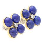Lapis Lazuli and Diamond Clover Stud Earrings