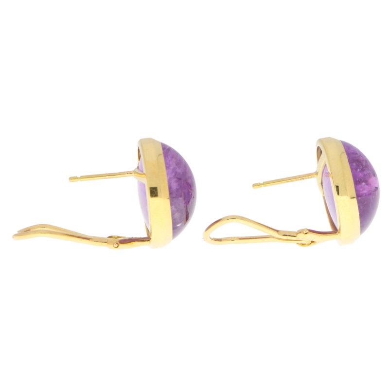 Large Purple Amethyst Dome Earrings