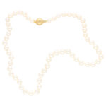 White Pearl Strand Necklace With Fluted Clasp