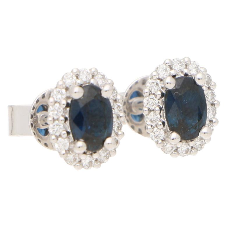 Deep Sapphire and Diamond Cluster Halo Earrings