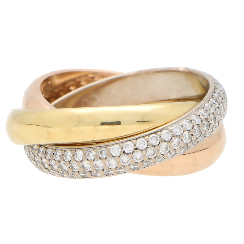 Vintage Cartier Diamond Trinity Ring Size 58