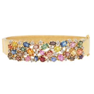 Multi coloured sapphire and diamond bangle