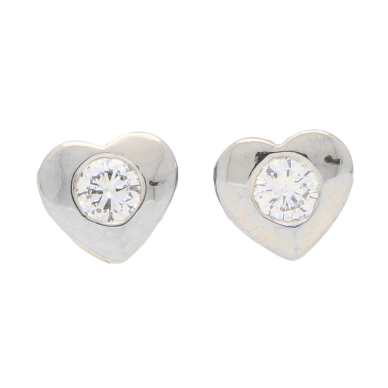 Diamond Heart Stud Earrings