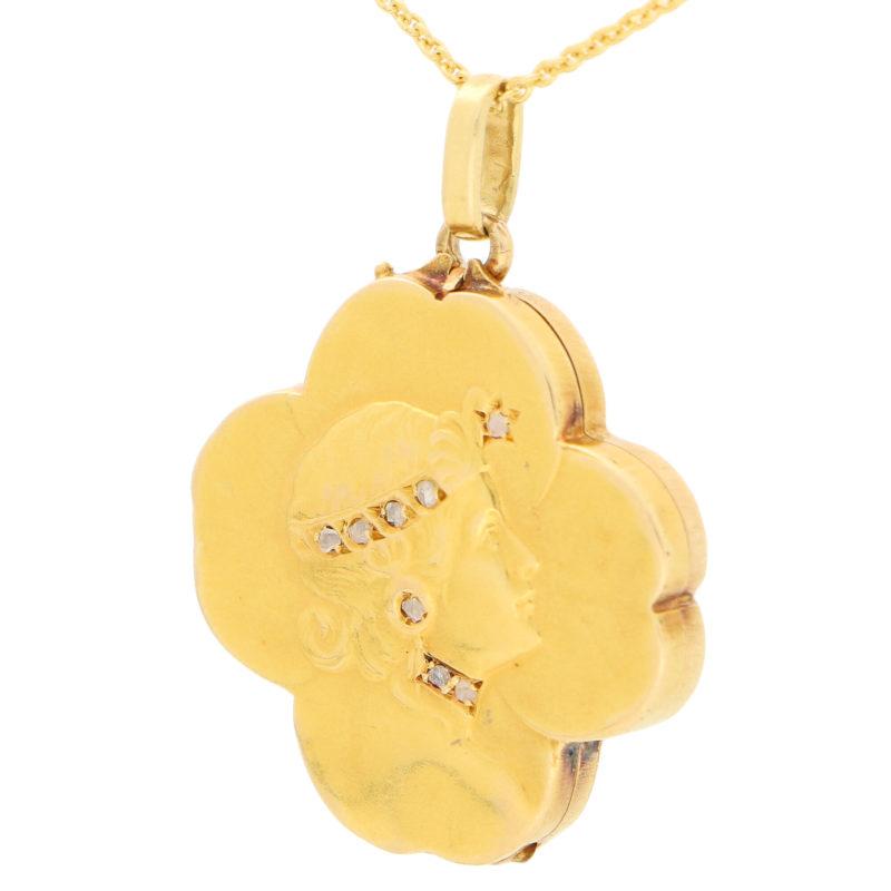 Art Nouveau Rose Cut Diamond Four Leaf Clover Locket