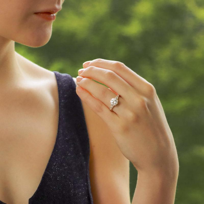 GIA Certified Art Deco Inspired Diamond Engagement Ring