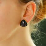 Vintage Fossilized Black Coral Chunky Earrings