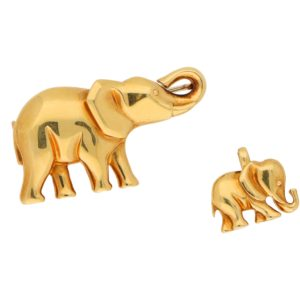 Vintage Cartier Elephant and Calf Brooch/Pendant