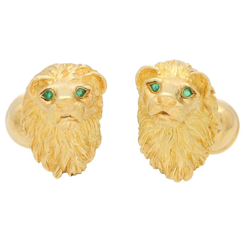 Vintage 1980's Tiffany & Co. Emerald Lion Head Cufflinks