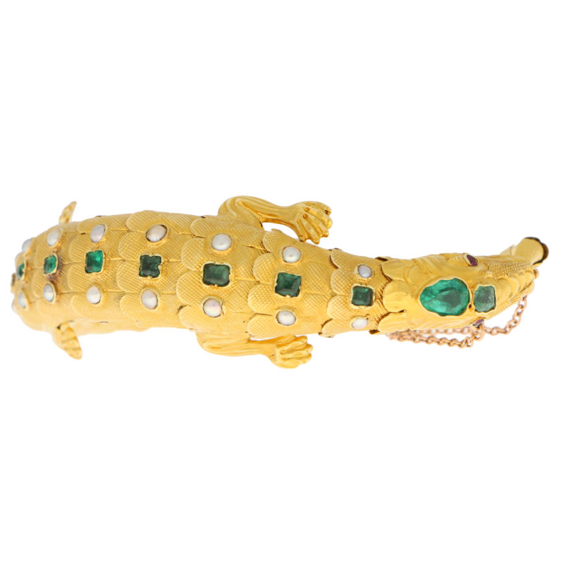 Late Victorian Emerald, Ruby and Pearl Salamander Bracelet