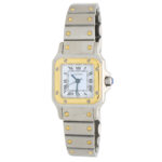 Vintage Lady's steel and gold Cartier Santos Galbee wrist watch