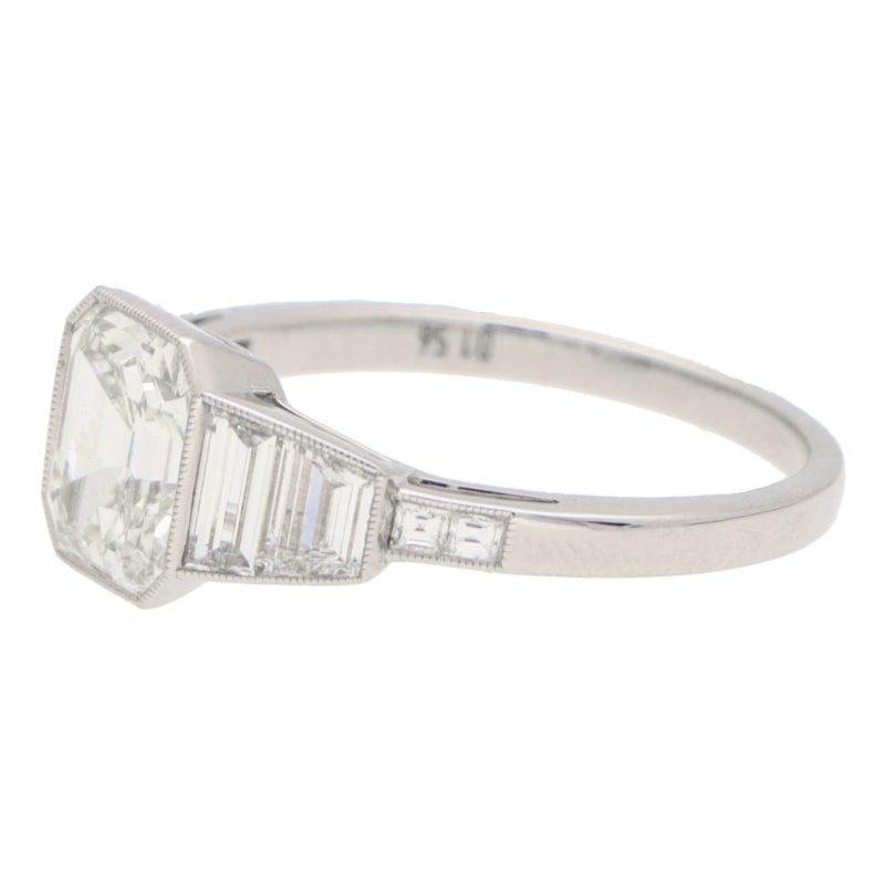 Art Deco Style Asscher Cut Diamond Ring