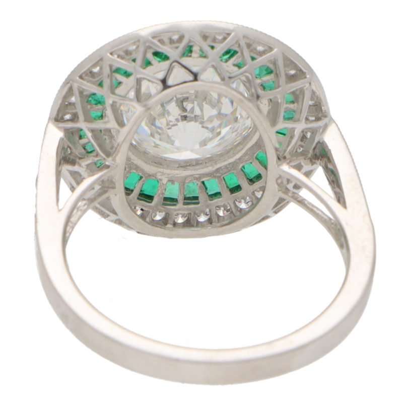 GIA Certified Diamond and Emerald Double Target Ring