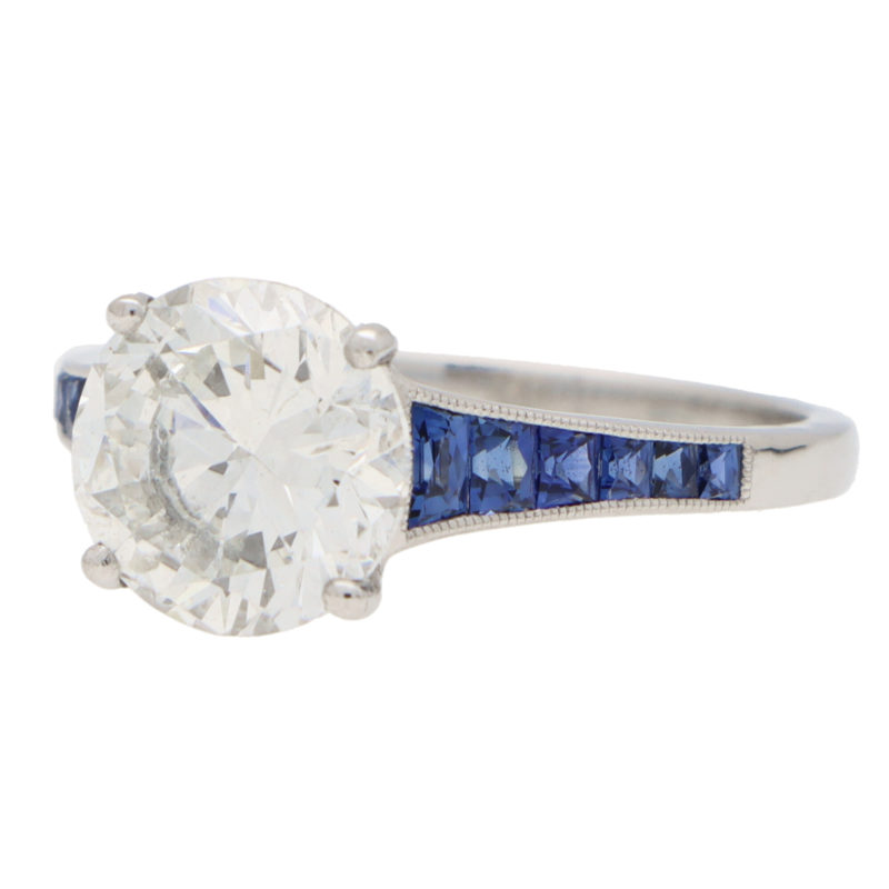 Certified Diamond and Sapphire Solitaire Ring