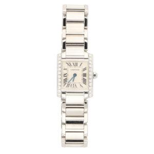 After set diamond Cartier Tank Francaise wrist watch