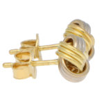 Woven Knot Stud Earrings in White and Yellow Gold