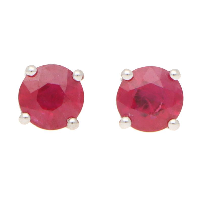 Round Cut 1.15ct Ruby Stud Earrings