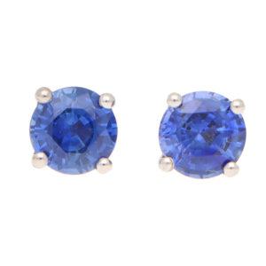 Round Cut 1.25ct Blue Sapphire Stud Earrings