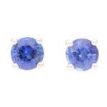 Round Cut 0.66ct Blue Sapphire Stud Earrings