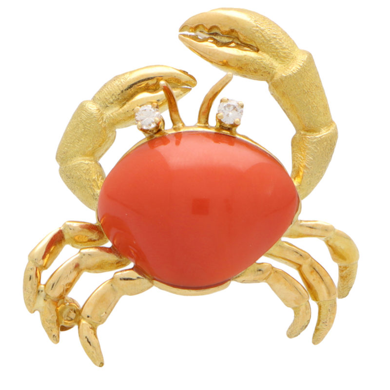 Vintage Tiffany & Co. Coral and Diamond Crab Brooch Pin