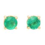 Round Cut 1.15ct Green Emerald Stud Earrings