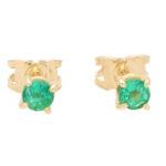 Round Cut 0.57ct Green Emerald Stud Earrings